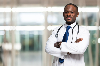 male doctor in uniform and wearing a stethoscope